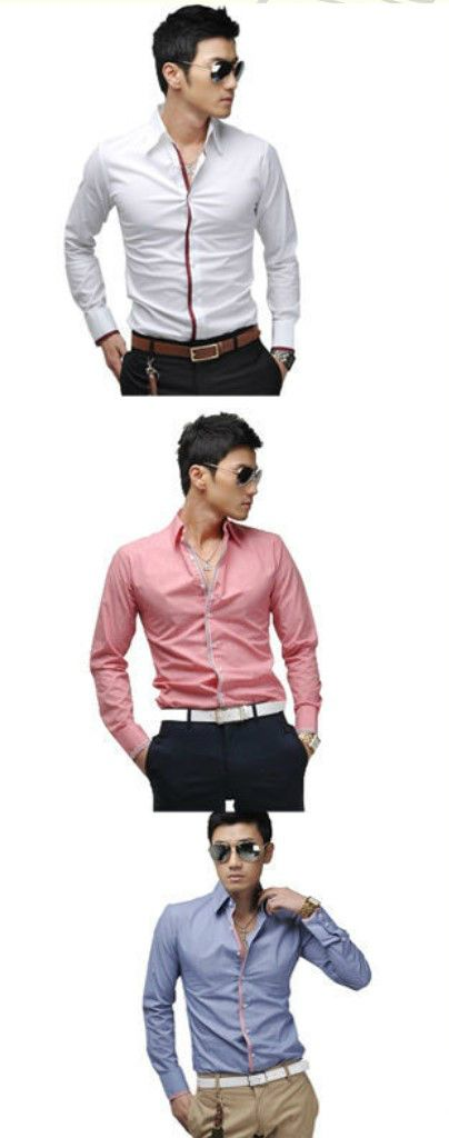 New Fashion Mens Luxury Button Front Solid Tops Formal Dress Shirt Casual Shirts