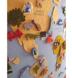 Felt World Map. Cool idea.  http://lasillaturquesa.blogspot.com.au/2012/02/otro-mapaeste-me-encanta.html