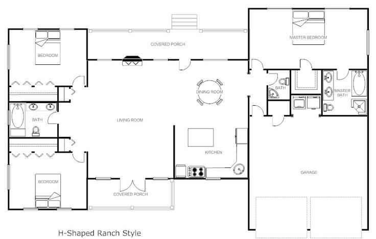 32x50 rectangle ranch house plans shaped ranch house for Rectangle shaped house plans