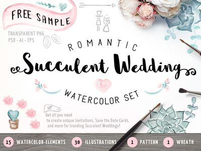FREE Succulent Watercolor Wedding Set