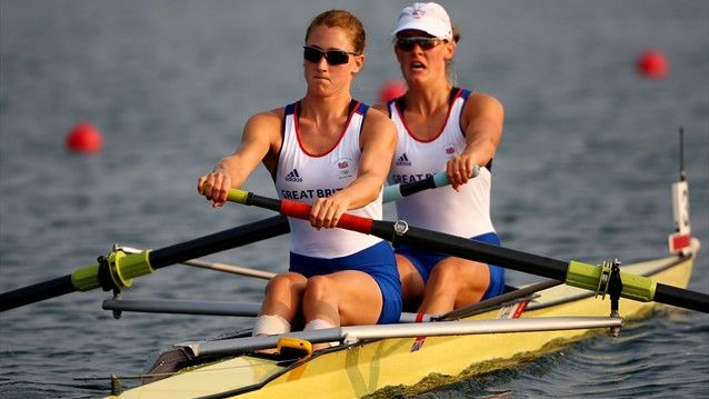 Louisa Reeve and Olivia Whitlam of Great Britain compete in the Pair event during the Beijing 2008 Olympic Games.
