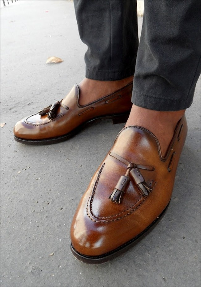 Mens Brown Leather Shoes With Tassels