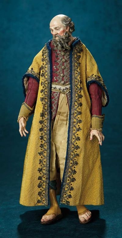 Forever Young - Marquis Antique Doll Auction: 21 Neapolitan Earthenware Man with Flowing Beard and Lavish Silk Costume