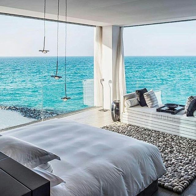 Ocean Front View From Bed  Would you live here?  Follow @pun_intended_news   By Unknown | #punintendednews  All rights reserved to the respective owner(s) #bedroomgoals #luxuryhomes