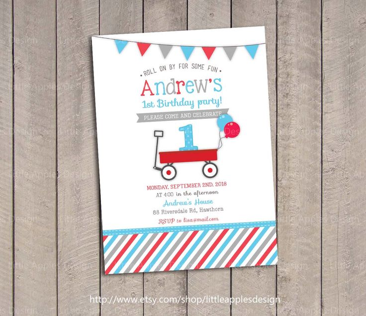 Red Wagon Birthday Invitation / Red Wagon invitation / Little Red Wagon…