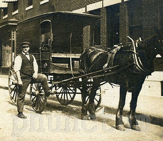 Milkman Horse Drawn Milk Wagon Vintage Occupational by phunctum, $18.00