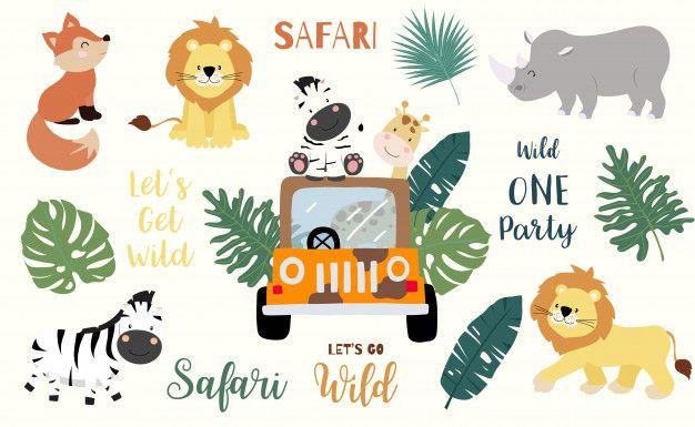 Safari Object Set With Fox Giraffe Zebra Premium Vector Freepik Vector Car Hand Nature Cartoon Safari Giraffe Logo Sticker