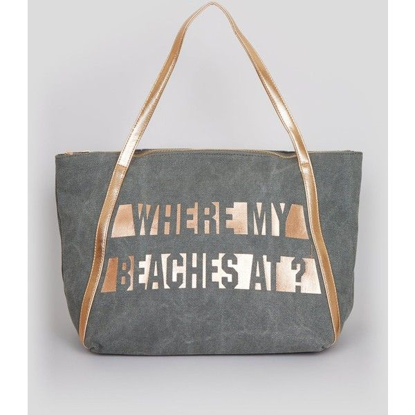 New Look Grey Where My Beaches At Tote Bag ($26) ❤ liked on Polyvore featuring bags, handbags, tote bags, grey, beach tote, metallic handbags, grey tote, handbags totes and gray handbags