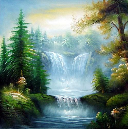 Waterfall landscape scenery landscape waterfall naturalism for Oil painting scenery