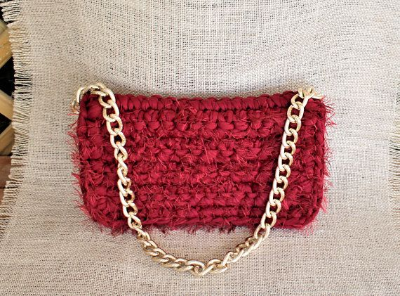 Red clutch bag Red crochet purse Red shoulder bag Woman