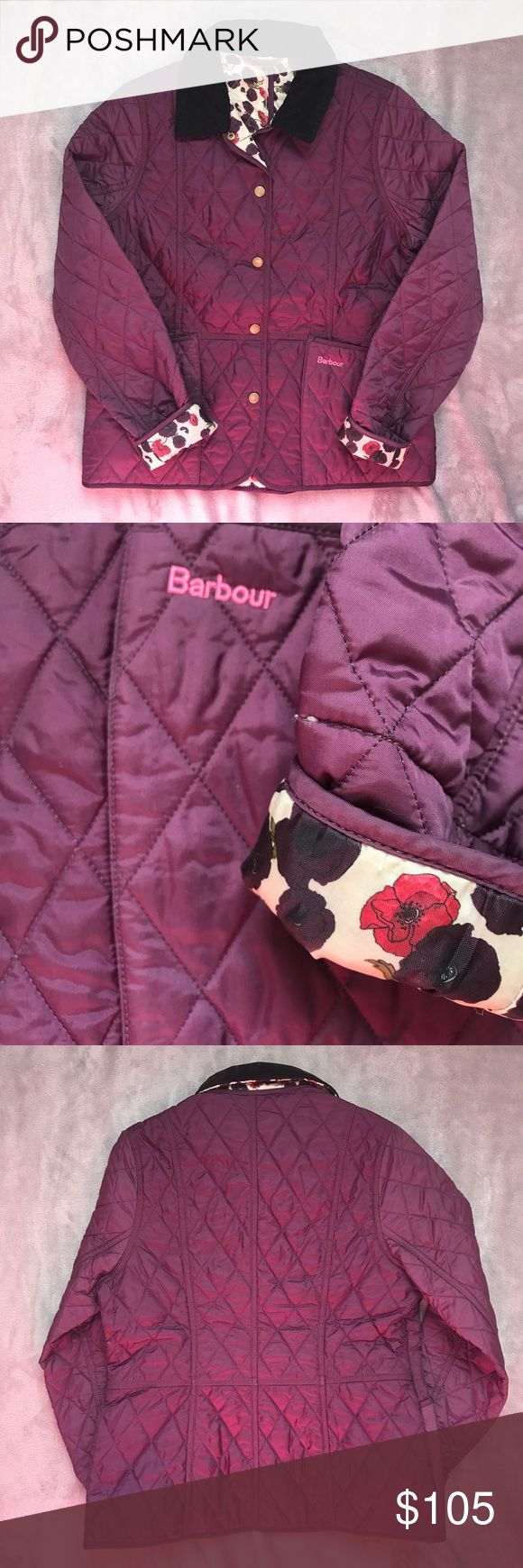BARBOUR QUILTED JACKET Barbour quilted jacket  - Country cottage prints - Size XS/XXS women's, XXL/14-15 kids - Worn a handful of times, EUC looks brand new  - Two front pockets - Buttons up front - Zip pocket on inside - Black cord collar Barbour Jackets & Coats