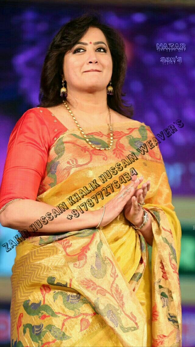 The malyali! celebrity samulatha in pure zari Kota Doria paithni work handloom saree.