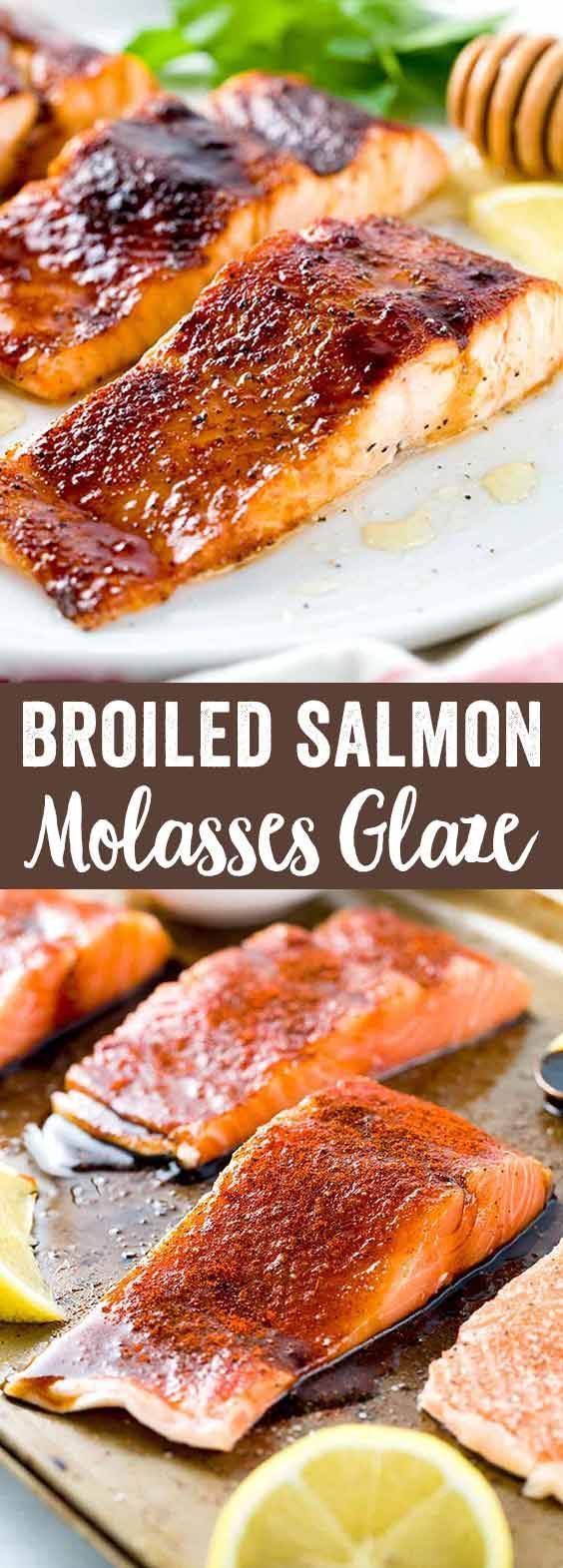 Broiled Salmon with Molasses Glaze - A delicious and easy fish recipe with bold spicy flavors that's ready in under 30 minutes and that your whole family will enjoy.  via @foodiegavin