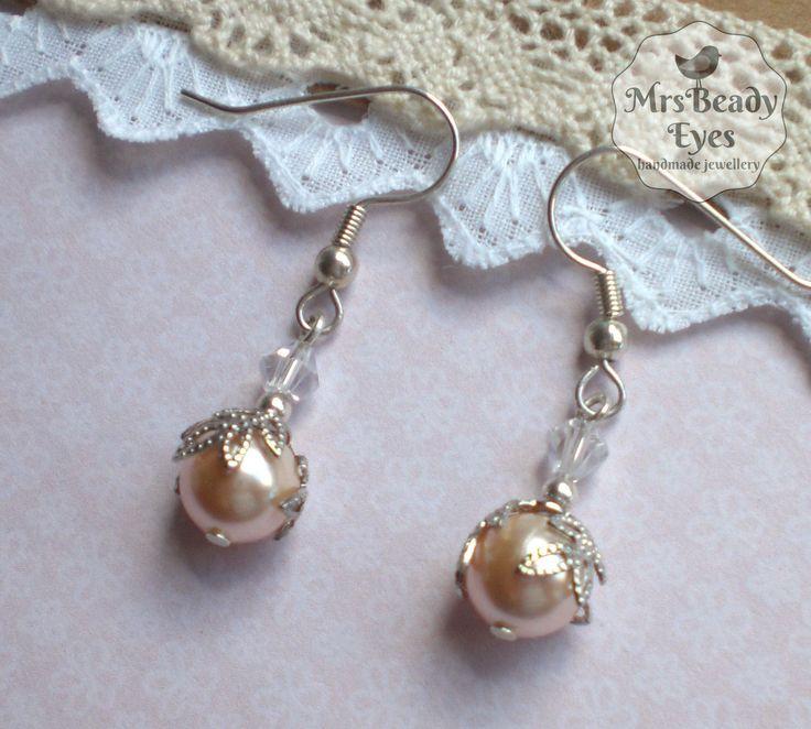 Soft pink pearl earrings Filigree pearl earrings Swarovski pearl earrings Apricot pearl earrings Silver pearl earrings Light pink earrings by MrsBeadyEyes on Etsy