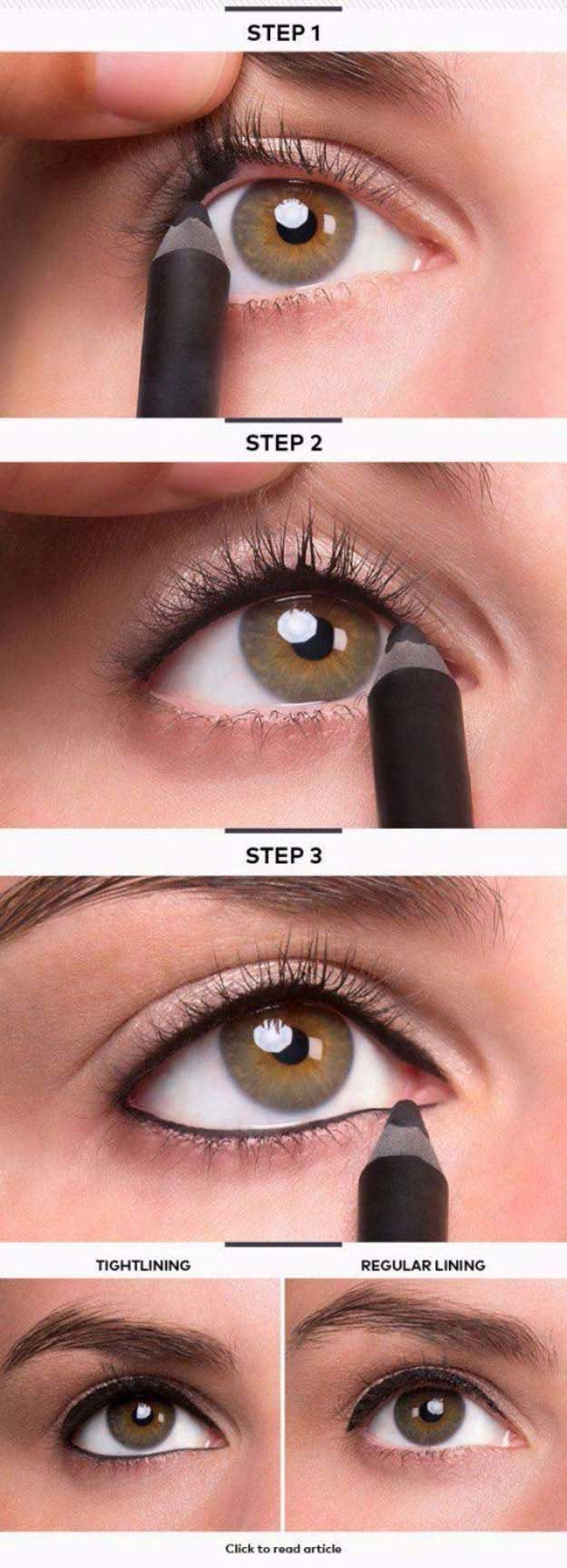Makeup Tutorials For Small Eyes - Tightline Eye Makeup - Easy Step By Step Guides On How to Apply Eyeliner and Get Perfect Lashes and Brows and How To Make Your Eyes Look Bigger - Beauty Tips for All Different Faces - Eyebrows and Cut Crease Youtube Videos for Girls - thegoddess.com/makeup-tutorials-small-eyes #howtocutcrease #applyinglashes
