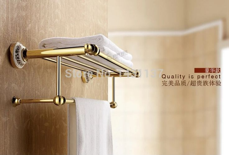104.28$  Watch here - http://aliwnl.worldwells.pw/go.php?t=32269967618 - High quality wall mount gold plating total brass material towel rack bathroom towel bar accessories 104.28$
