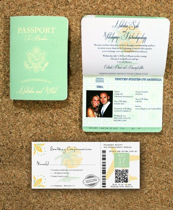 Passport Destination Wedding Invitation and Boarding Pass Set