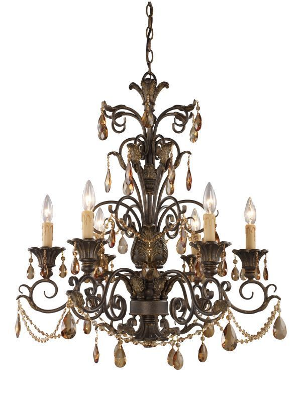 108 best chandeliers images on pinterest chandeliers entrance weathered mahogany amber crystal rochelle six light chandelier aloadofball Gallery