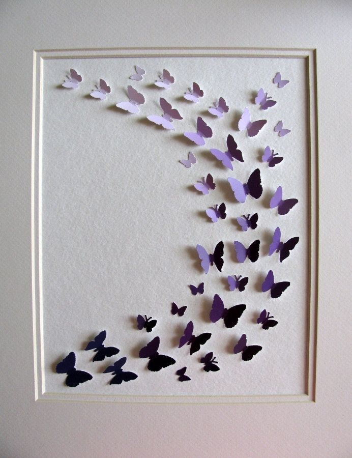 Purple Paint Chips Recycled - 3D Butterfly Art - 8x10 - Ready to Ship. $42.00…