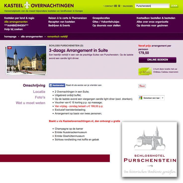 Kasteel overnachting presenteert :  Schloss Purschenstein (D) 3-daags Arrangement in Suite. Een heerlijk verblijf in een van de prachtige Suites van Purschenstein. Op de laatste avond een candle light dinner. Boekt u via Kasteelovernachtingen.nl, dan ontvangt u gratis : Champagne op de kamer - Entrée Nussknackermuseum - Entrée Glashüttenmuseum - Schloss rondleiding met koffie en gebak. MEER INFO : http://www.kasteelovernachtingen.nl/2015/3-daags-arrangement-suite-tip.htm