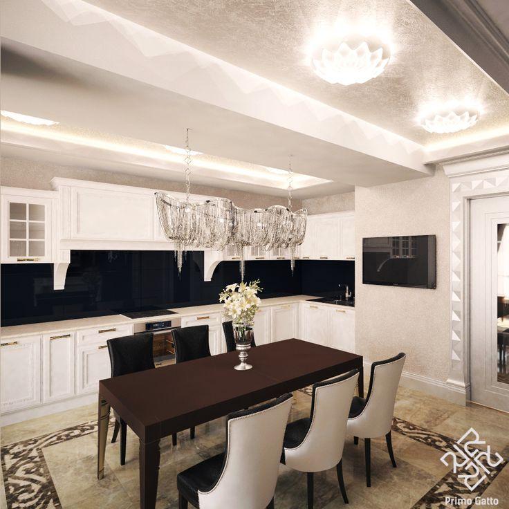 Зона кухни-столовой в квартире в стиле #ардеко решена на контрастном сочетании черных, белых и бежевых тонов. На полу мраморная плитка Emperador Light. Зона столовой выложена мозаичным фризом ручной работы. Стена за камином и фартук кухни решены в черном стекле. Благодаря такому контрастному фону мраморный камин и кухня смотрятся особенно выразительно. #Primogatto_interior_project #siprivate_decor_home #Siprivate_manufacture #дизайн
