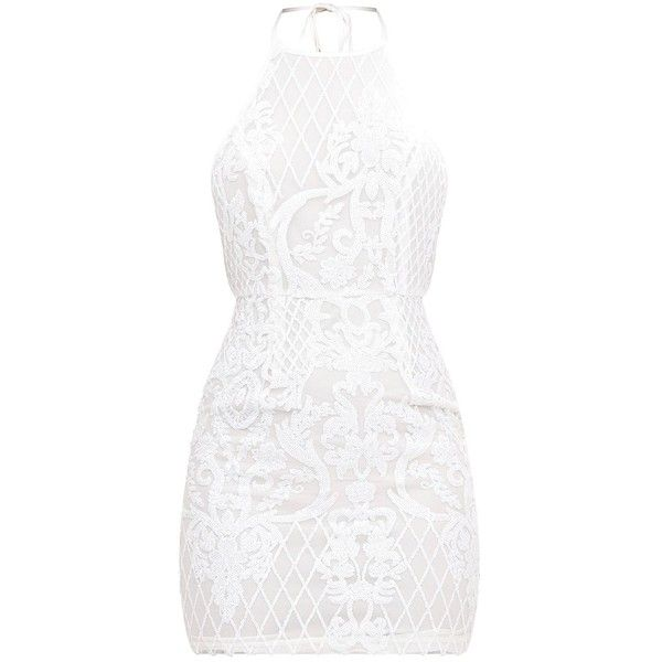 White Sequin Front Bodycon Dress ($49) ❤ liked on Polyvore featuring dresses, sequin body con dress, white dresses, white colour dress, sequin bodycon dress and emerald green dress