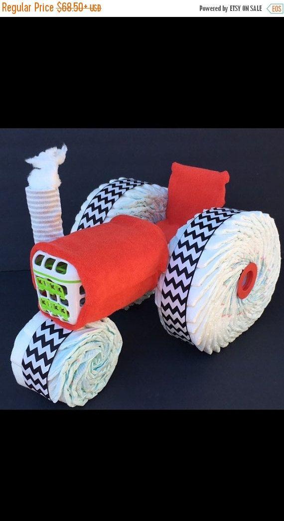 Pastel de pañal rojo VENTA tractor torta de por OBabyDiaperCakesCo
