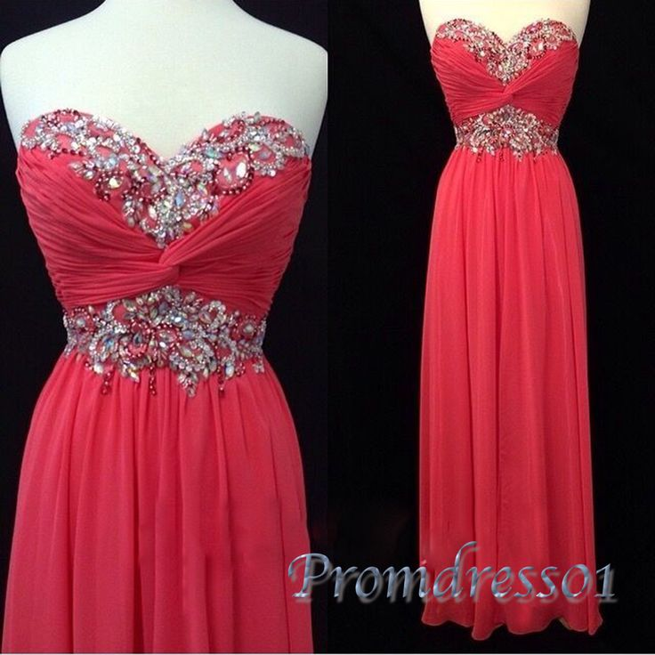Beautiful coral chiffon sequins prom dress for teens, long homecoming dress 2016 #coniefox