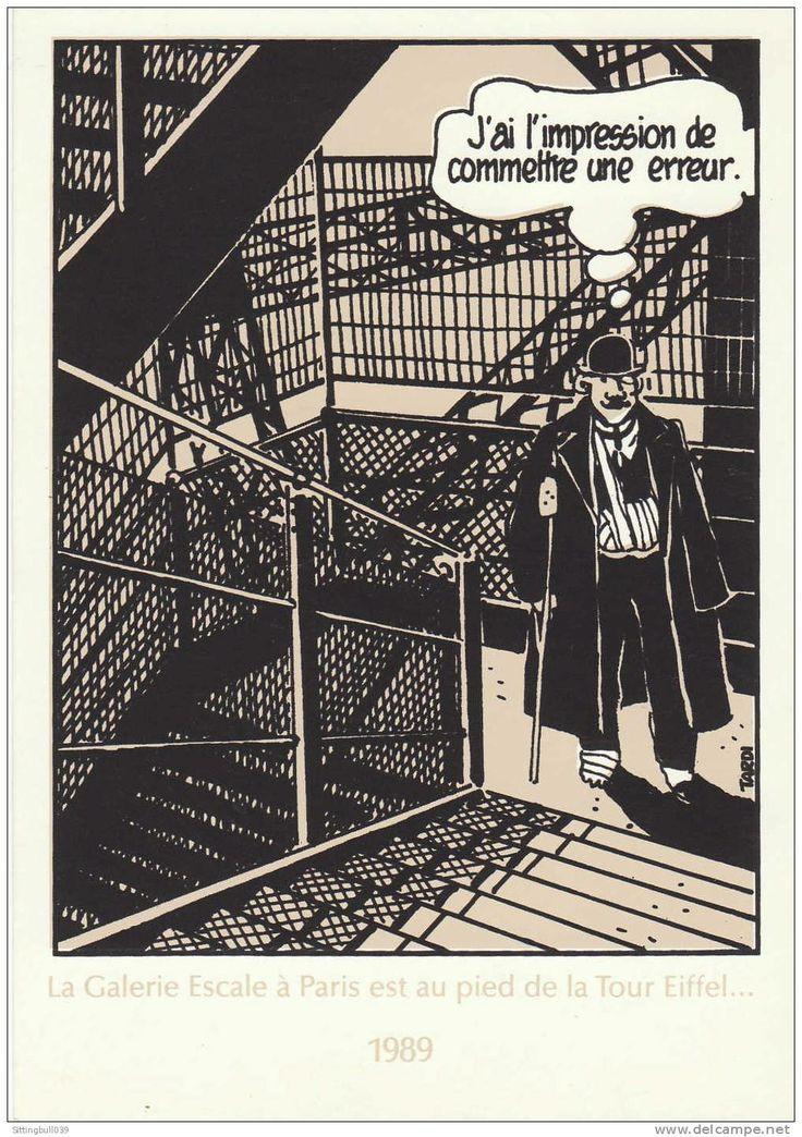 """""""J'ai l'impression de commettre une erreur"""" - Adèle Blanc-Sec: le démon de la tour Eiffel. Postcard 1989 galerie Escale Paris."""