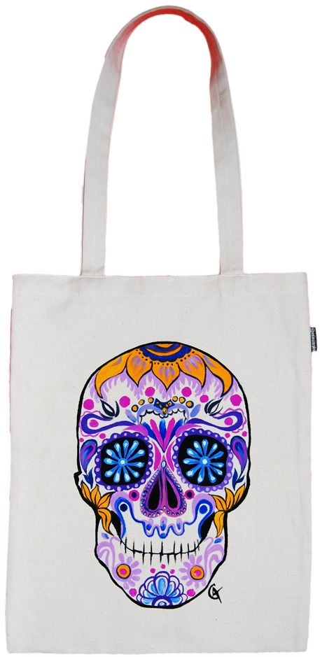 Geanta din bumbac   Candy Skull Follow my work here: https://www.facebook.com/GameArtRo/ and here: https://www.instagram.com/game_art_gifts/  #handpaintedbag #Customart #watercolor #effect #blackandwhite #colors #funnytotebag #customtotebag #totebag #candyskull #skull #diadelosmuertos