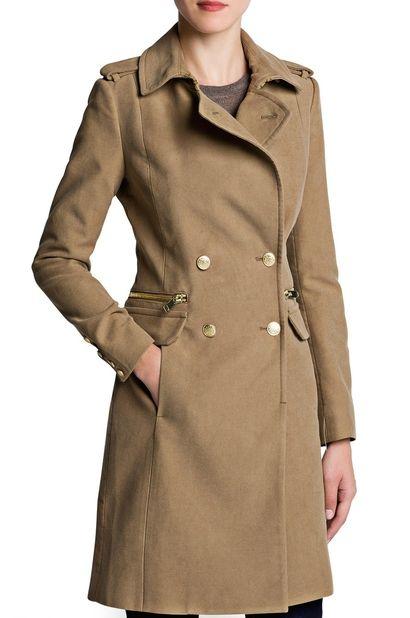 Długi bawełniany płaszcz MANGO beżowy / beige long coat