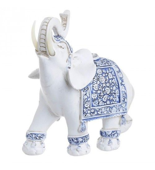 POLYRESIN ELEPHANT IN WHITE_ BLUE COLOR 20X9X20_5
