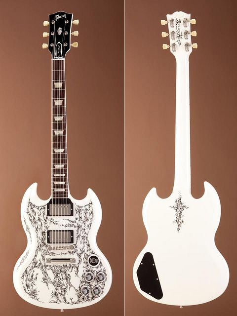 hand painted white guitar. Gibson SG
