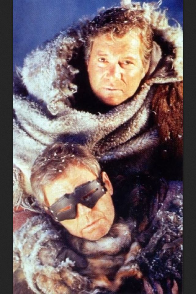 William Shatner and DeForest Kelley in a publicity still for Star Trek VI: The Undiscovered Country.