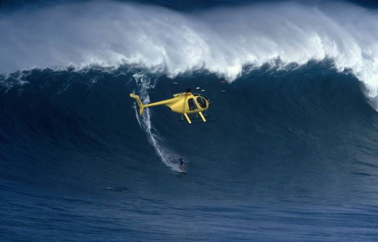 Tow-in surfing at Jaws, Maui