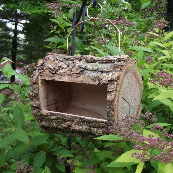 Log Bird Feeder Handmade From Reclaimed Tree Branch