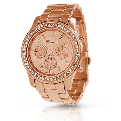 Geneva Rose Gold Plated Classic Round CZ Ladies Boyfriend Watch - $13.09 - SAVE 86%