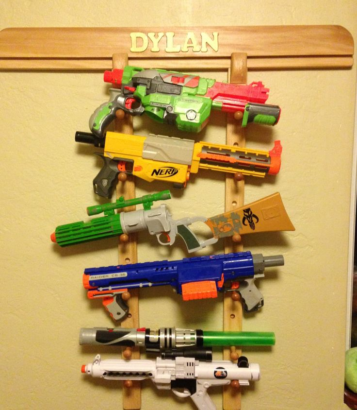 Nerf Gun Rack -- Storage for up to 7 weapons / pistols