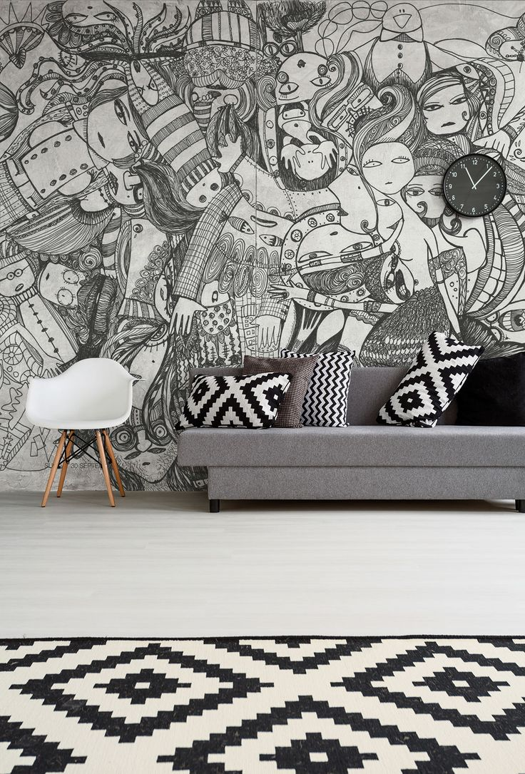 """Tim Burton lovers, brace yourself: this is for you! """"Doodle"""" is the first design from Leo Bellei, a great tribute to illustration and arts in a cool and young wallpaper. #Tecnografica #wallpaper #doodle #livingroomideas"""