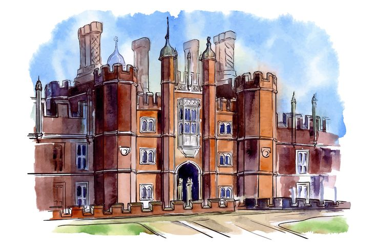 Посмотреть иллюстрацию Токарев Антон - дворец Хэмптон Корт, архитектурная…