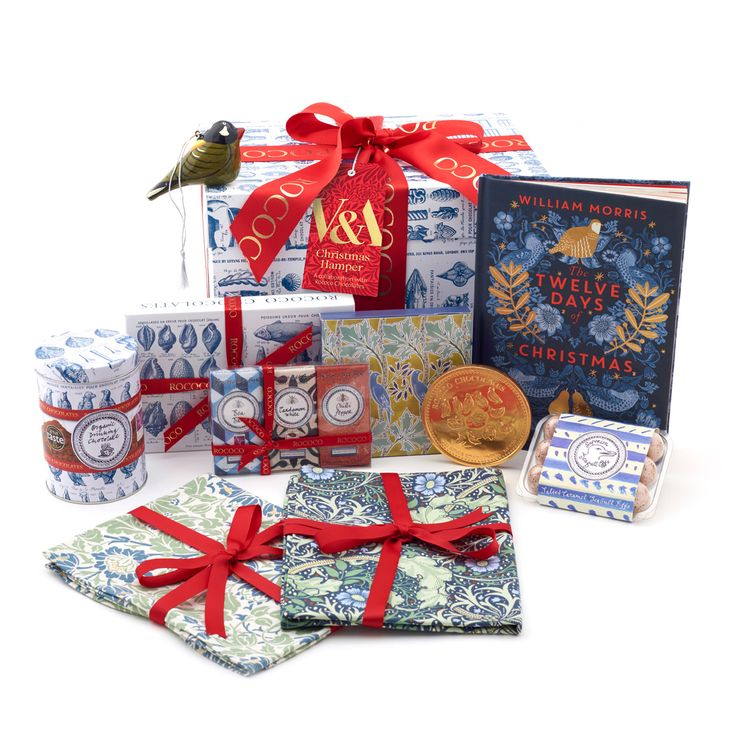 The V&A have collaborated with award winning London chocolatiers, Rococo Chocolates to create this exclusive festive hamper. It is packed with a unique combination of beautiful V&A gifts and a delicious assortment of Rococo treats, perfect for sharing over Christmas. Available at the V&A Shop this Christmas.