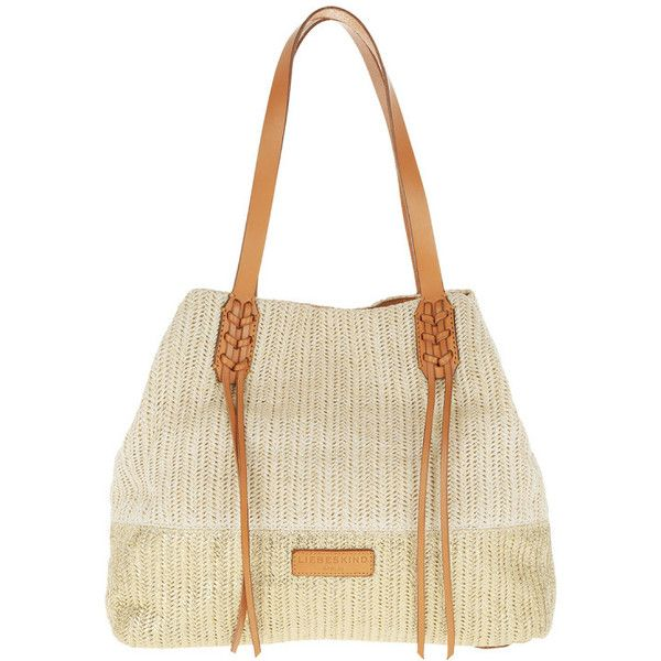 Liebeskind Shoulder Bag - Bria Shopper Beach Sand - in beige -... (9,585 PHP) ❤ liked on Polyvore featuring bags, handbags, shoulder bags, beige, genuine leather shoulder bag, white leather purse, white handbags, leather shopping bag and leather purses
