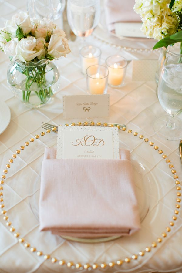 Clear Charger with Gold Beads | photography by http://katelynjames.com