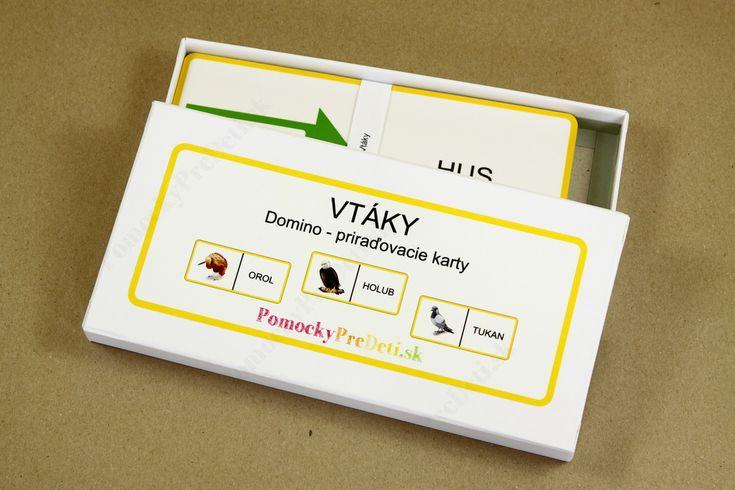 Domino - Vtáky, priraďovacie karty #ucebnepomocky #didaktickehracky #homeschooling #domacevzdelavanie #pomockypredeti #teachingaids #montessori #domino #dominocards #birdcards