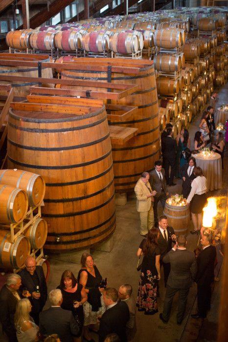 Reception In The Barrel Room. Firestone Vineyards & Winery. Los Olivos (Santa Barbara), California. Weddings At Wineries.