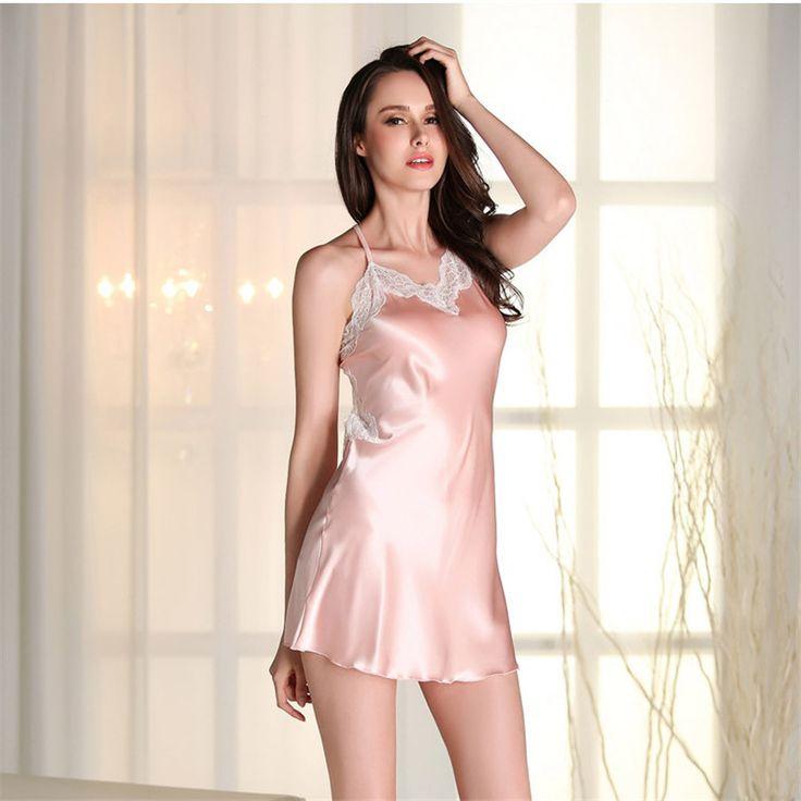 미니 Nightdress 레이스 슬립 드레스 새틴 잠옷 섹시한 나이트 가운 인공 실크 잠옷 여성 란제리 플러스 사이즈 SY320-7405