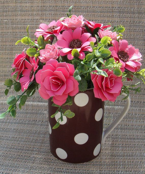 Paper Flower arrangement  inBrown polka Dot by SweetPeasFlorals, $23.00