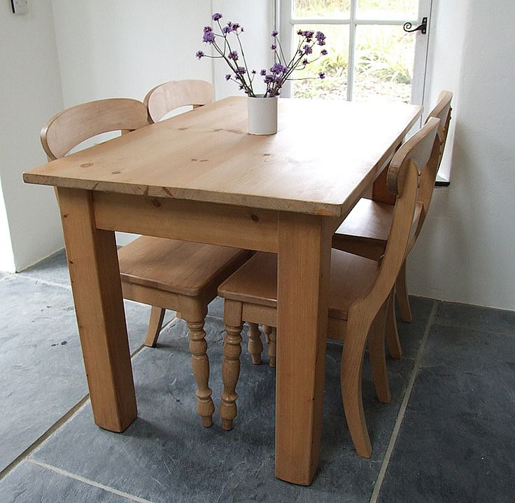 Rather than go for a painted table the customer chose a contrasting all wood finish for their kitchen table and chairs. Shown here is a square legged farmhouse table with 4 Country chairs. All are finished with our own formula antique stain and natural beeswax polish.