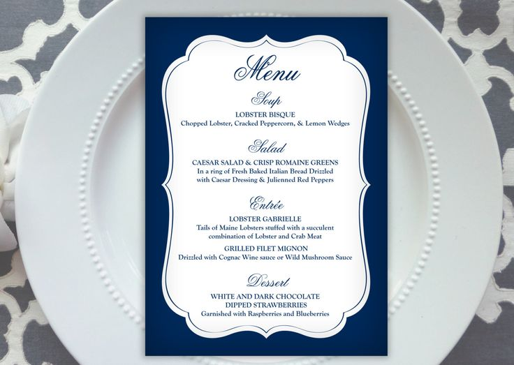 PRINTED Wedding Menu - Style M39 - ANGELICA COLLECTION   wedding menu   table menu   reception menu by ThatPrettyInvitation on Etsy https://www.etsy.com/ca/listing/262846500/printed-wedding-menu-style-m39-angelica