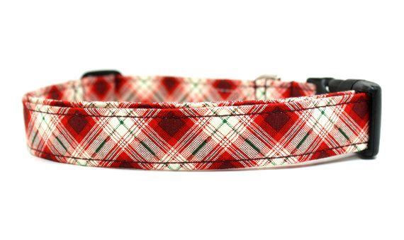For Murphie - Log Cabin Plaid Adjustable Dog Collar by Four Black Paws.